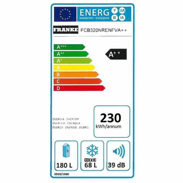 Frigorifero Incasso Franke FCB 320 NR ENF V A++ Combinato Etichetta Energetica