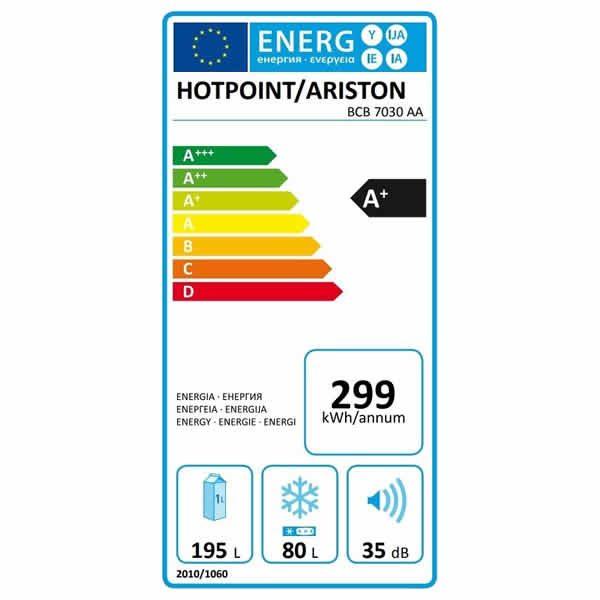 Frigorifero Incasso Hotpoint Ariston BCB 7030 AA Combinato Etichetta Energetica
