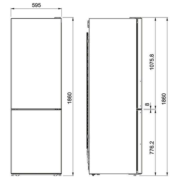 Frigorifero Libera Installazione Franke FCBF 340 TNF XS A+ Combinato Schema Dimensioni