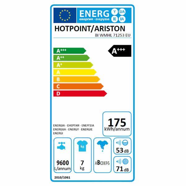 Lavatrice Incasso BI WMHL 71253 EU Hotpoint Ariston Carica Frontale 7kg Etichetta Energetica