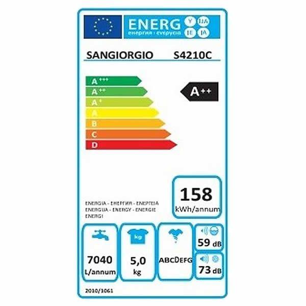 Lavatrice Sangiorgio Meccanica 5kg S4210C A++ 1000 Giri Etichetta Energetica