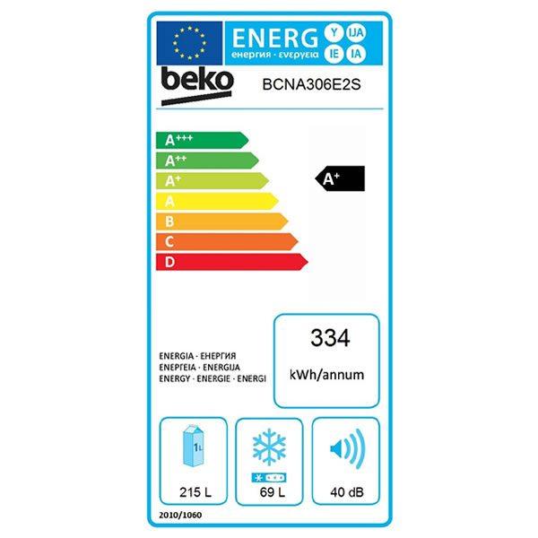 Frigorifero Beko Incasso BCNA306E2S NeoFrost Dual Cooling Combinato Etichetta Energetica
