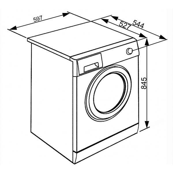 Lavatrice Smeg LBW710IT 7kg A++ 1000 Giri Schema Dimensioni