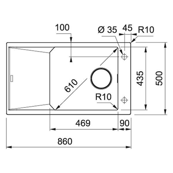 Lavello Franke Nero FXG 611-86 Fragranite 86x50cm Schema Dimensioni