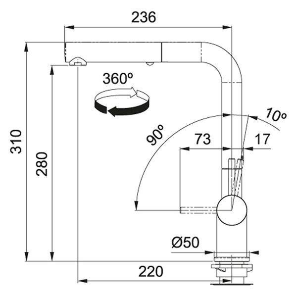 Rubinetto Franke Active Plus Metallic Doccia Estraibile Schema Dimensioni
