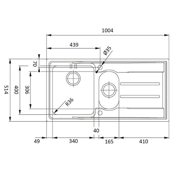 Lavello Franke ANX 251 100x51cm Aton Inox Satinato Schema Dimensioni