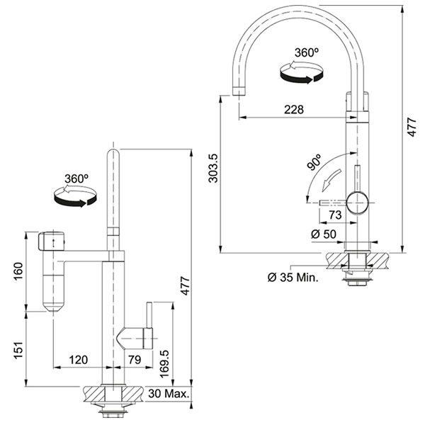 Miscelatore Vital 2in1 Franke Canna Girevole Cromato-Gun Metal Schema Dimensioni