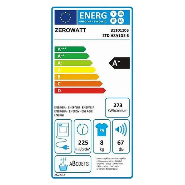 Asciugatrice 8Kg Zerowatt ETD H8A1DE-S Etichetta Energetica