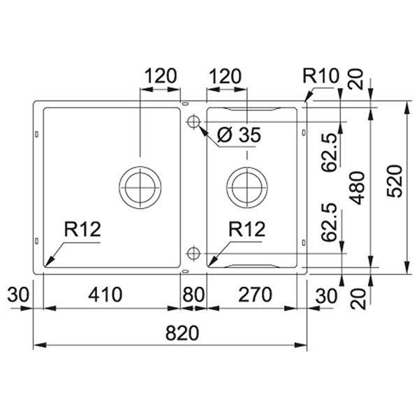 Franke Lavello Box Center BWX 120-41-27 Con Accessori Sottotop Schema Dimensioni