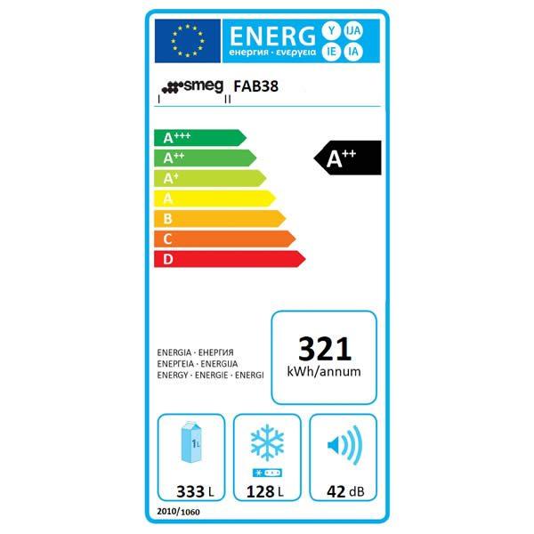 Frigorifero Smeg FAB38 Panna Combinato Anni 50 Etichetta Energetica