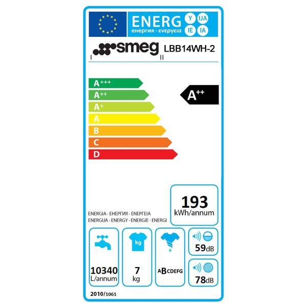 Lavatrice 7Kg Smeg Bianco LBB14WH-2 A++ Anni 50 Etichetta Energetica
