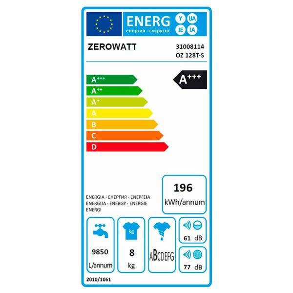 Lavatrice Zerowatt OZ 128T-S 8Kh 1200 Giri Classe A+++ Etichetta Energetica