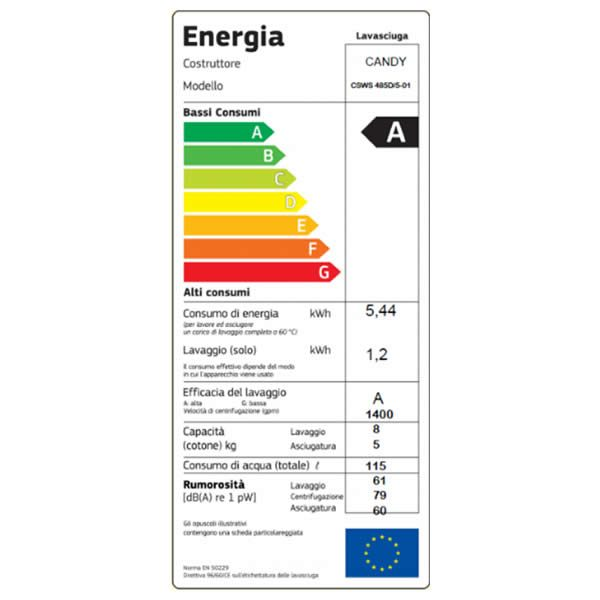 Lavasciuga Candy Capacità 8-5kg CSWS 485D/5 Etichetta Energetica