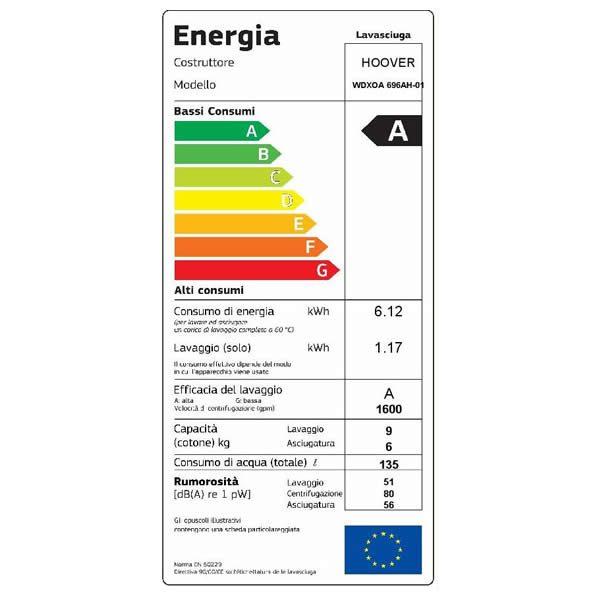 Lavasciuga Hoover WDXOA 6106AH/5-01 Capacità 10/6Kg Etichetta Energetica
