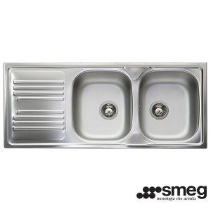 Lavello Smeg 2 Vasche Semifilo 116x50cm LYP116S Inox
