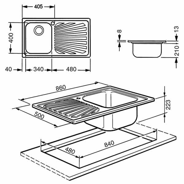 Lavello Smeg SG861 1 Vasca Acciaio Inox 86X50cm Schema Dimensioni