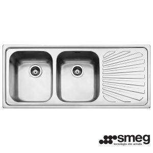 Lavello Smeg Acciaio Inox 116cm SP116D 2 Vasche
