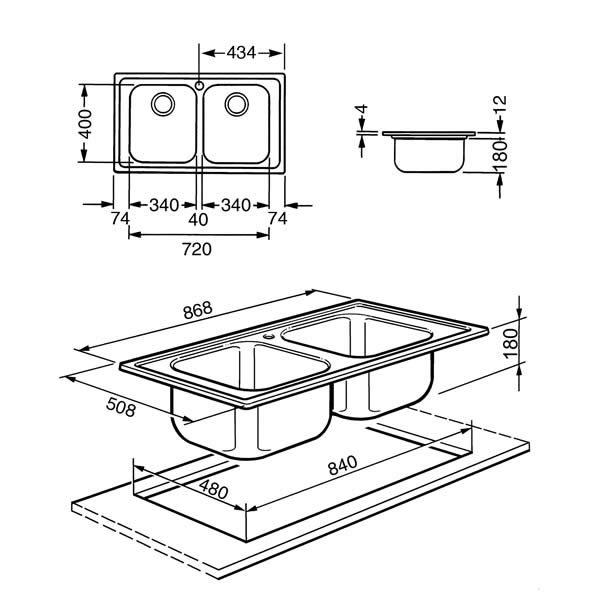 Lavello Smeg LPE862 86x50cm Acciaio 2 Vasche Disegno Tecnico