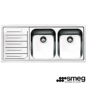 Lavello Smeg Semifilo 116x50cm LPE116S 2 Vasche Inox