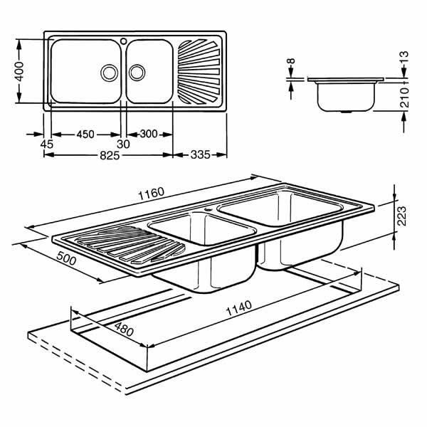 Lavello Smeg SG116 Inox Incasso 116cm 2 Vasche Disegno Tecnico