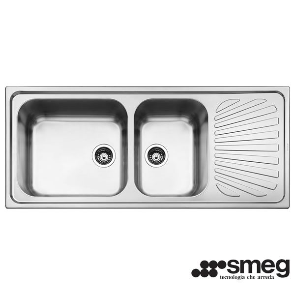 Lavello Smeg SG116D Inox Incasso 116cm 2 Vasche