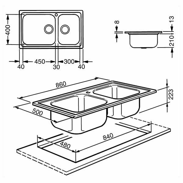 Lavello Smeg SG862 Acciaio Inox 2 Vasche 86x50cm Schema Dimensioni