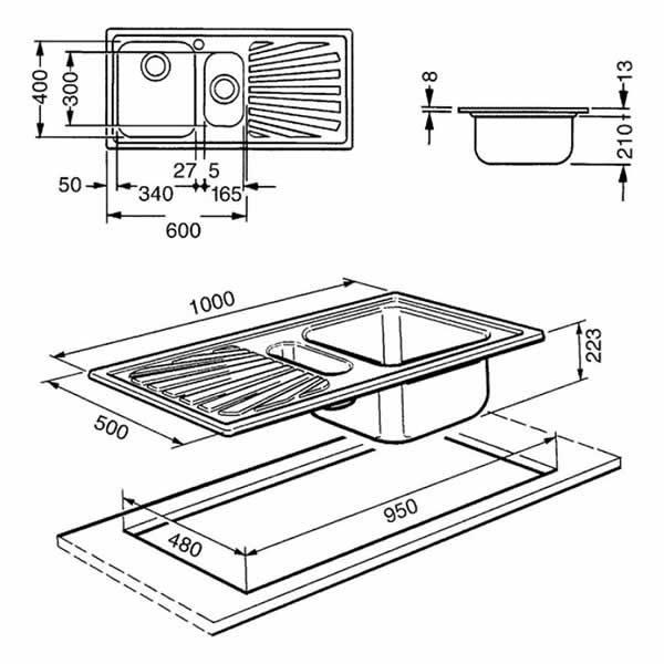 Lavello Smeg SP102 Acciaio Inox 100cm 1 Vasca e 1/2 Schema Dimensioni