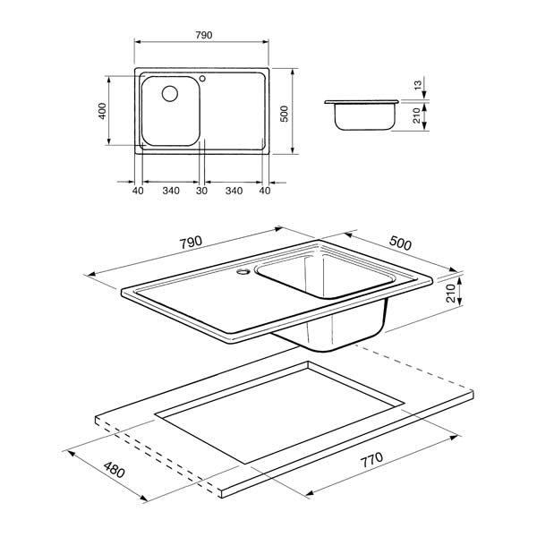 Lavello Smeg SP791S-2 Acciaio Inox 79cm Disegno Tecnico