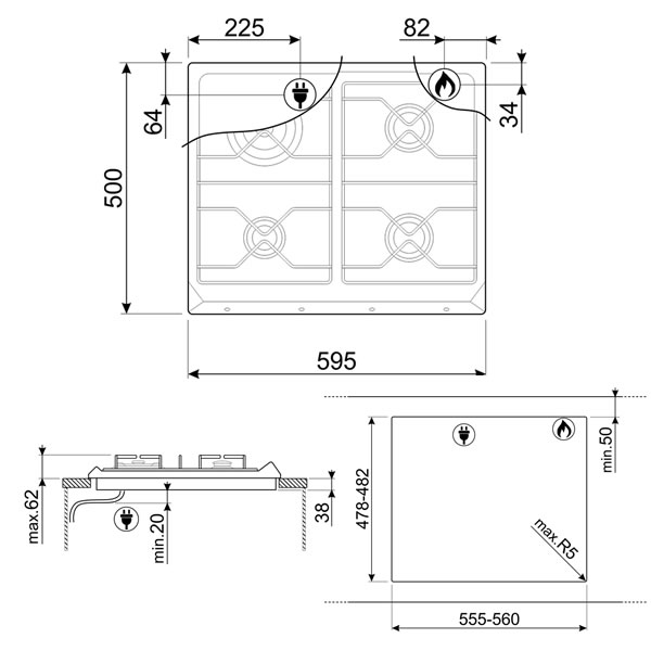 Piano Cottura Rame Smeg 60cm Gas Srv864ragh Uniprice