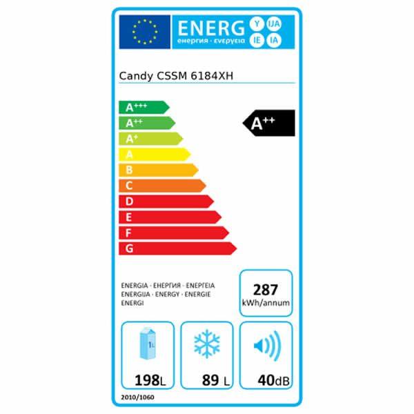 Candy Frigorifero Combinato CSSM 6184XH Statico A++ Etichetta Energetica