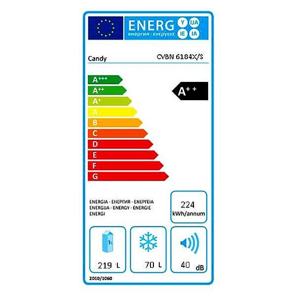 Candy Frigorifero Combinato CVBN6184X/S Total No Frost A++ Etichetta Energetica