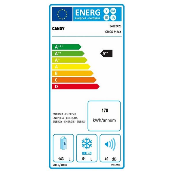 Frigorifero Candy Inox CMCS5154X Combinato A++ Etichetta Energetica