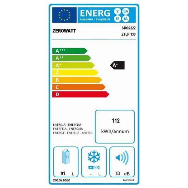 Mini Frigo Zerowatt ZTLP130 Sotto Tavolo 91Lt A+ Etichetta Energetica