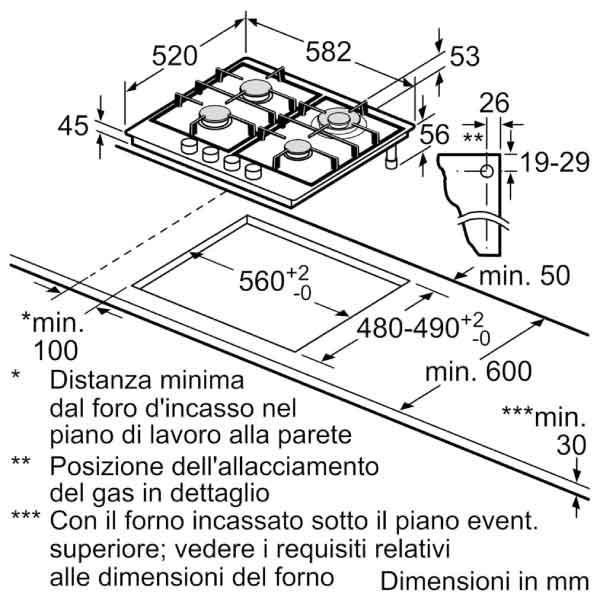 Piano Cottura Bosch 60 cm Gas PGH6B5B80 4 Fuochi Acciaio Scheda Tecnica