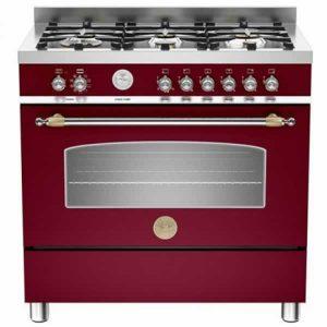 Cucina 90x60 Bertazzoni Heritage HER905MFESVIE Rosso Bordeaux Forno Elettrico