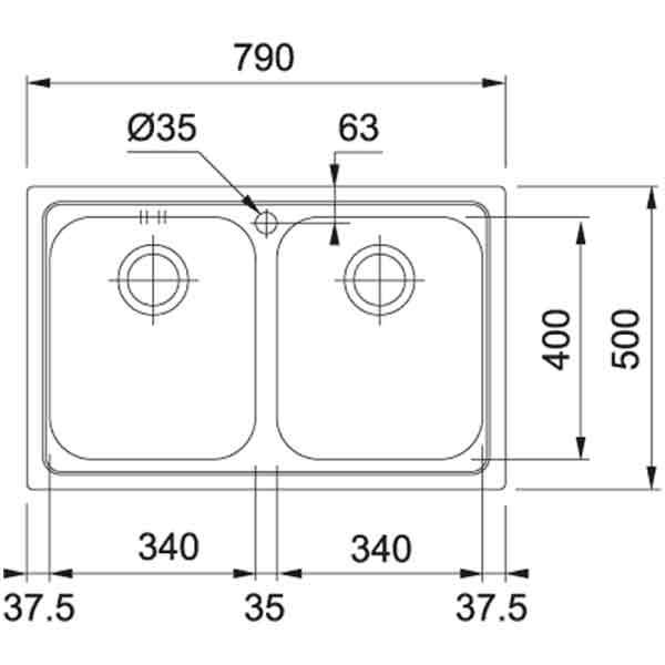 Lavello Franke LLX 620 79x50 2 Vasche Acciaio Satinato Schema Incasso