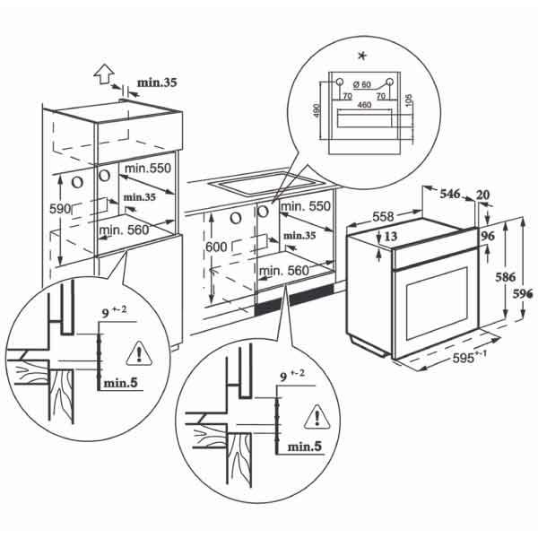 Forno Microonde Combinato MKO 1307-ED MMW BK 60 cm Master Kitchen Schema Incasso