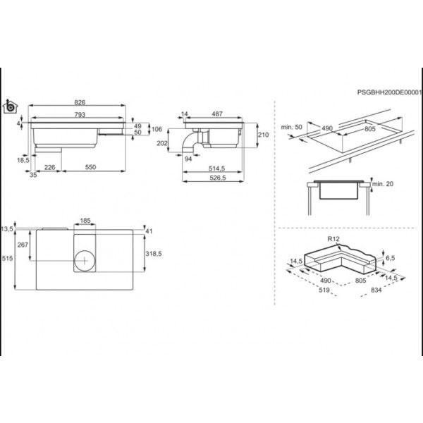 Piano Cottura ComboHob Aeg Cappa Integrata IDE84244IB 83 cm Schema Incasso