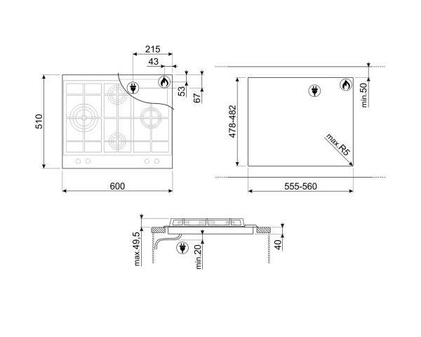 disegno tecnico Piano cottura Smeg P260XGH