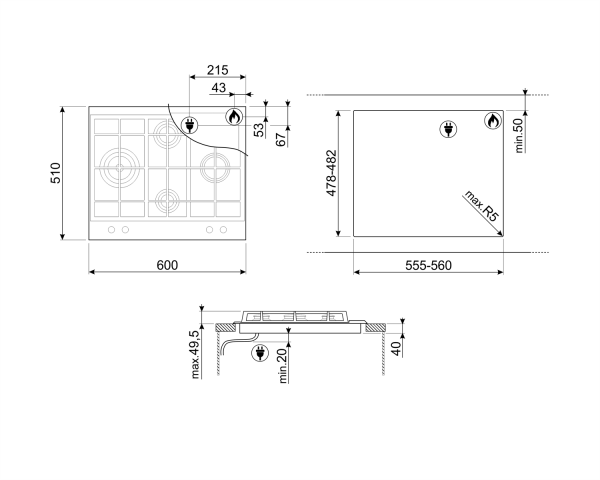 disegno tecnico piano cottura P261XGH